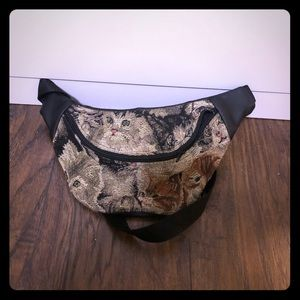 Vintage hand made cat tapestry fanny pack